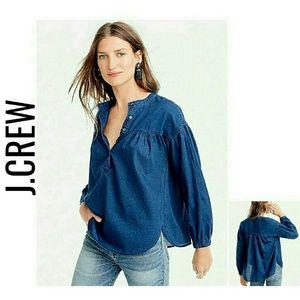 J.Crew Denim Peasant Girl Style Top NWT $78 4